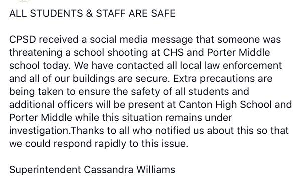 All Students & Staff Are Safe