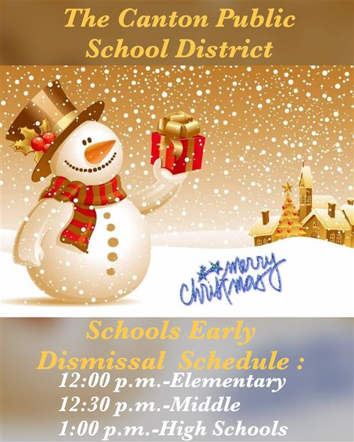 Christmas Early Dismissal Schedule