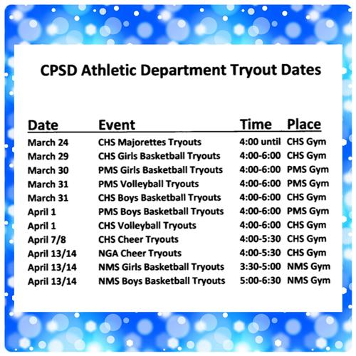 CHS TRYOUTS SCHEDULE