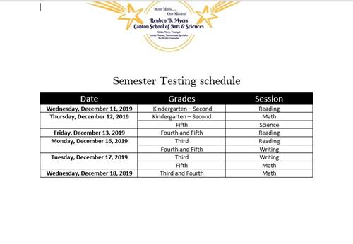 Myers CSAS Testing Schedule