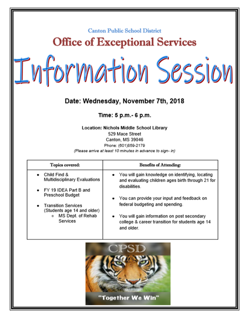 Exceptional Services Parent Information Session