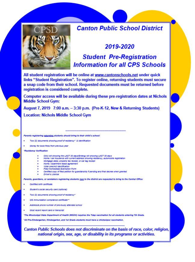 August Student Registration